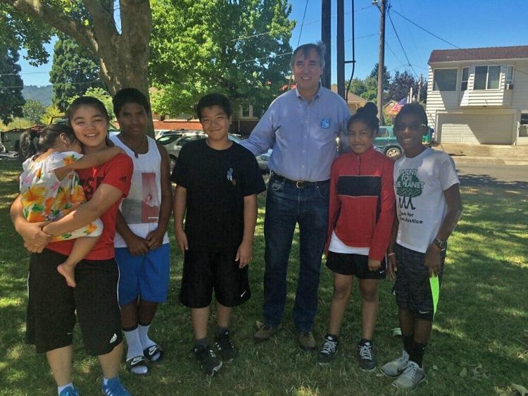 U.S. Senator Jeff Merkley iwth Miko and Isaac Vergun and friends