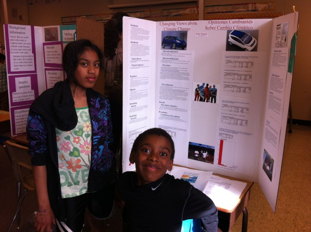 Isaac's 5th Grade Science Fair Project at Barnes on Climate Change--with Miko